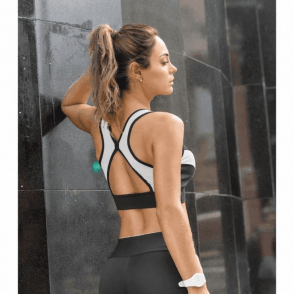 'Strike A Pose' Black and White Lycra Sport Bra Top