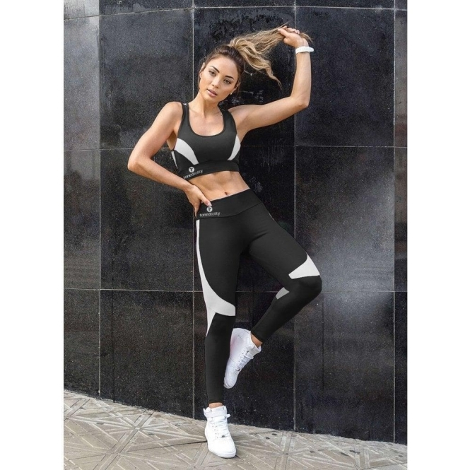 'Strike A Pose' Black & White Sport Running Tights