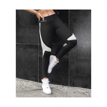 'Strike A Pose' Black & White Sport Running Tights