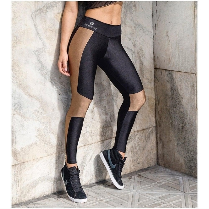 'Top Secret' Black and Bronze Sexy Gym Leggings