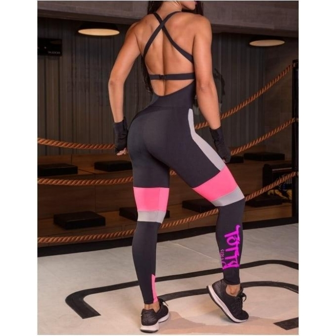 'Totty Girls' Black and Neon Sports Fitness Jumpsuit / Catsuit