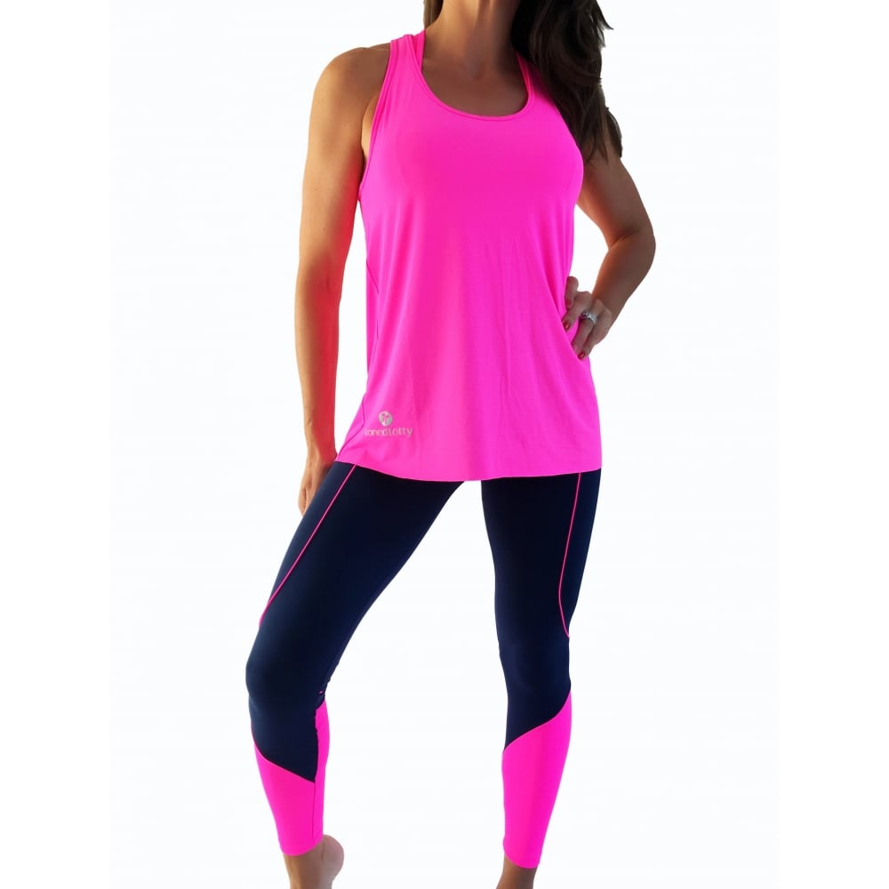 b5e991d696384 Navy and Pink Luxury Supplex Fitness Gym Leggings