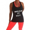 'Work It Out' Slogan Fitness Vest Top