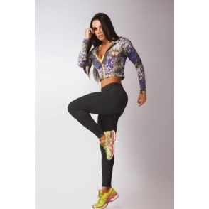 Zip Leg 'Lola' Luxury Gym Legging Black